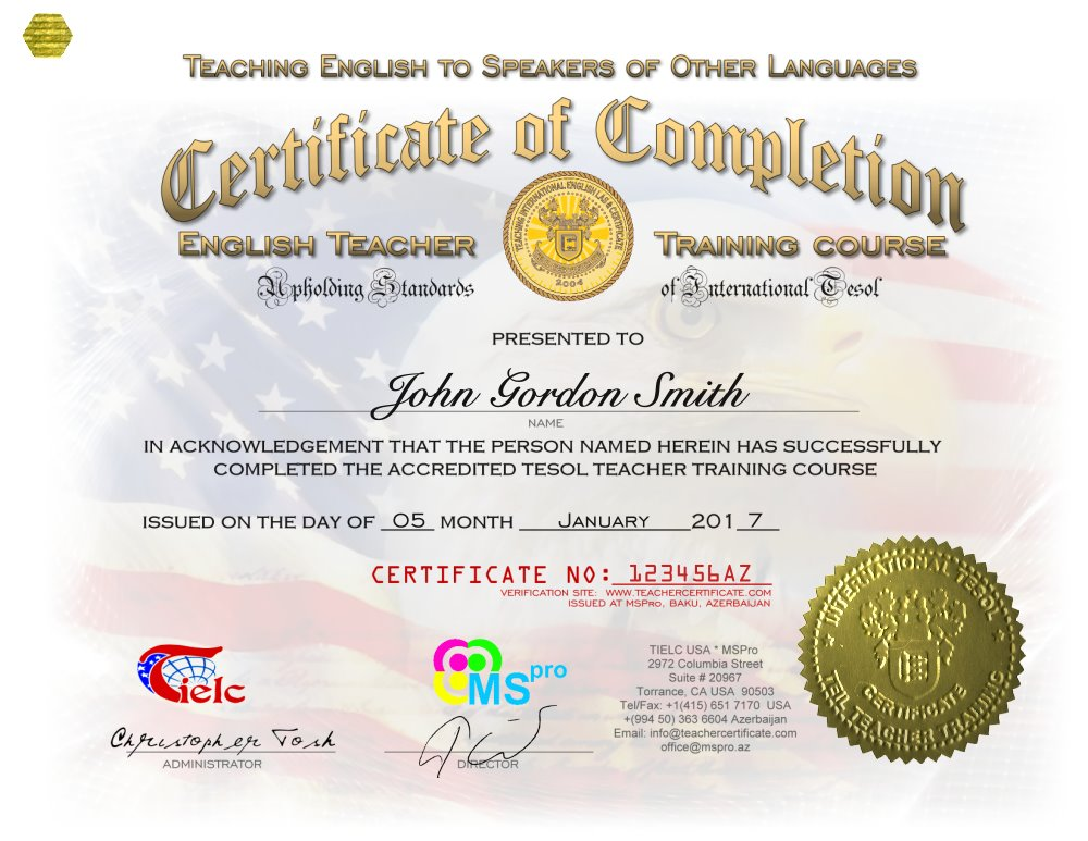 Certificate Mspro Tesol